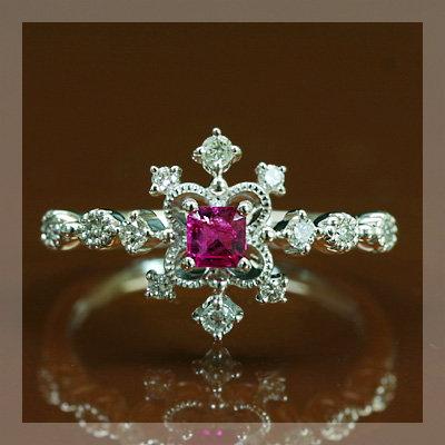 稀少石 幻の宝石レッドベリル ダイヤモンドリング「デコーレ」