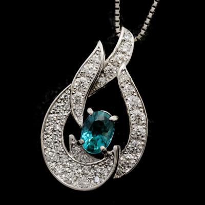 稀少石 Pt900 0.515ctグランディディエライト ダイヤモンド ペンダント チェーン付
