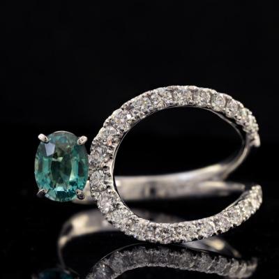 稀少石 Pt900 0.734ctグランディディエライト ダイヤモンド リング