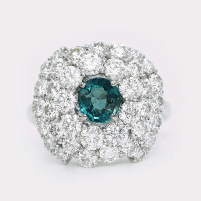 稀少石 Pt900 0.882ctグランディディエライト 3.0ctダイヤモンド リング