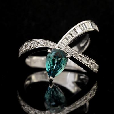 稀少石 Pt900 0.961ctグランディディエライト ダイヤモンド リング