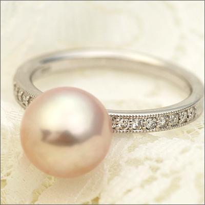 湖水真珠(パープル)×ダイヤモンドプリマリング