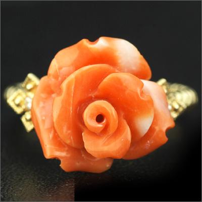 桃珊瑚薔薇×ダイヤモンドビオラリング