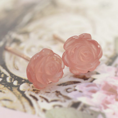 6mmインカローズ薔薇ピアス