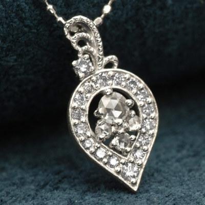 【バレエコレクション】ローズカットダイヤ×ダイヤモンドペンダントトップ「オデット」