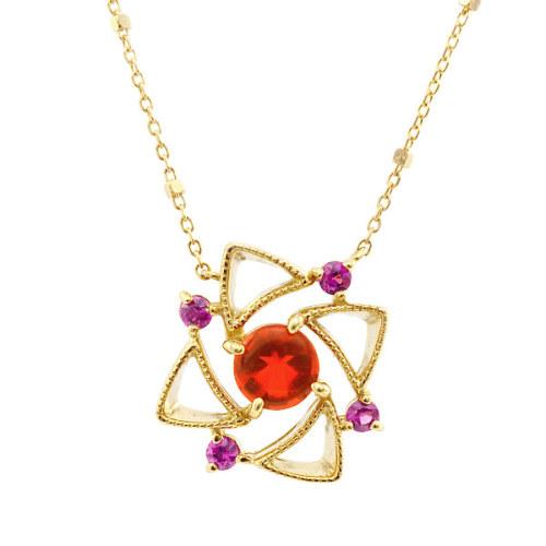 「庭園」 VILLANDRY Fire Opal×Pink Sapphire pendant 「ヴィランドリー」ファイヤーオパール×ピンクサファイア ペンダント(チェーン付)