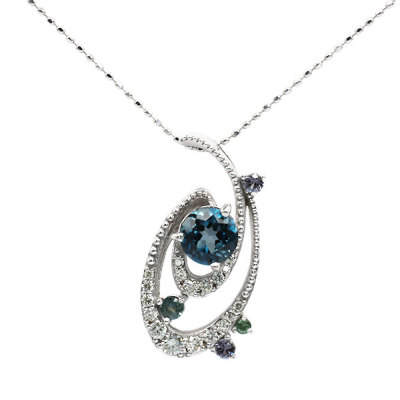 GINGA London blue topaz×Diamond multi-color pendant 「銀河」ロンドンブルートパーズ×ダイヤモンド マルチカラーペンダント(チェーン別売り)