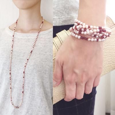 淡水真珠×ガーネットネックレス