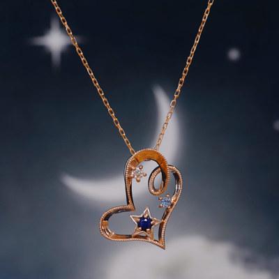 ブルーサファイア×ダイヤモンドペンダント「星空ハート」