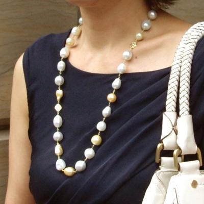 南洋白蝶真珠「黄金バランスのロングネックレス」約70-71cm