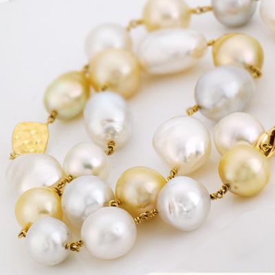 南洋白蝶真珠「黄金バランスのチョーカー」約44-45cm