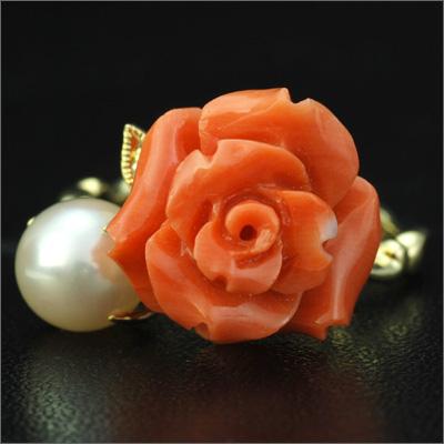 「華やかフェミニン」薔薇の桃珊瑚×あこやパールリング