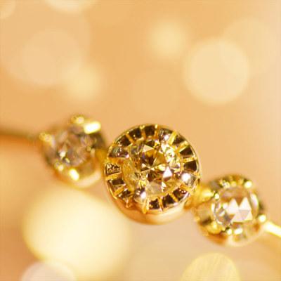 アーガイル産ゴールデンダイヤモンド×ローズカットダイヤモンドリング