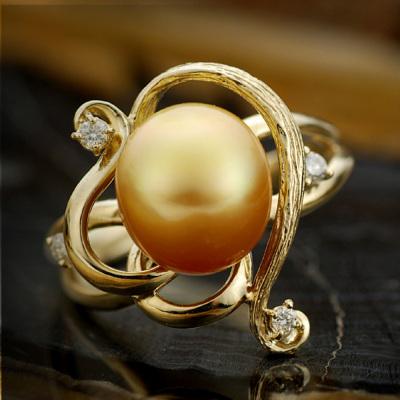 【限定5本】南洋白蝶真珠(茶金)9.5-11mm×ダイヤモンドリング「リアーナ」Liana