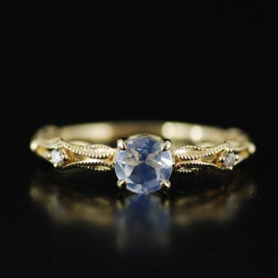 ラブラドライト×ダイヤモンドリング「ファヤージュ」