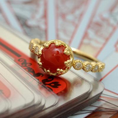 血赤珊瑚7mm×ダイヤモンドリング「ミル」