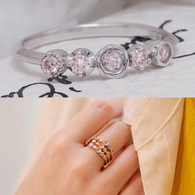 スチールピンクダイヤモンド リング