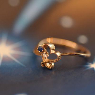 ブルーサファイア×ダイヤモンドリング「星空ハート」