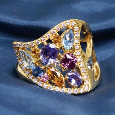マルチカラー サファイア ダイヤモンド リング