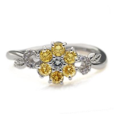 アーガイル産ゴールデンダイヤモンドリング「ノーブルフラワー」