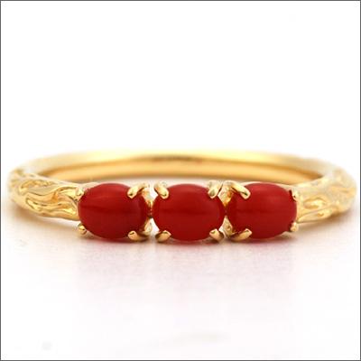 3つの赤珊瑚リング 「ラーマ」Rama