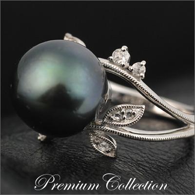 黒蝶真珠×ダイヤモンリング「ボタニカル」