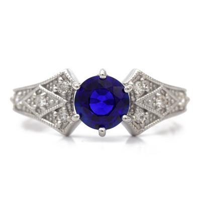0.89ctブルーサファイア×ダイヤモンドリング「デコ」