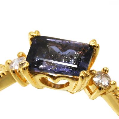 アイオライトサンストーンダイヤモンドリング