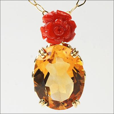サルジ珊瑚薔薇×シトリンペンダントトップ「フィオーレ」Fiore
