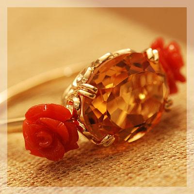サルジ珊瑚薔薇×シトリンリング「フィオーレ」Fiore