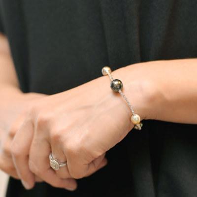 ミルグレイス New Authentic 南洋真珠×0.75ctブリリアントカットダイヤモンドブレス
