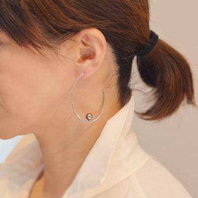 タヒチ真珠×1.26ct ダイヤモンド フープピアス